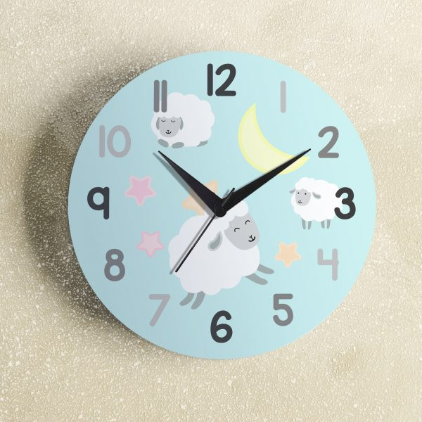 Big beautiful clock hanging on color background, space for text